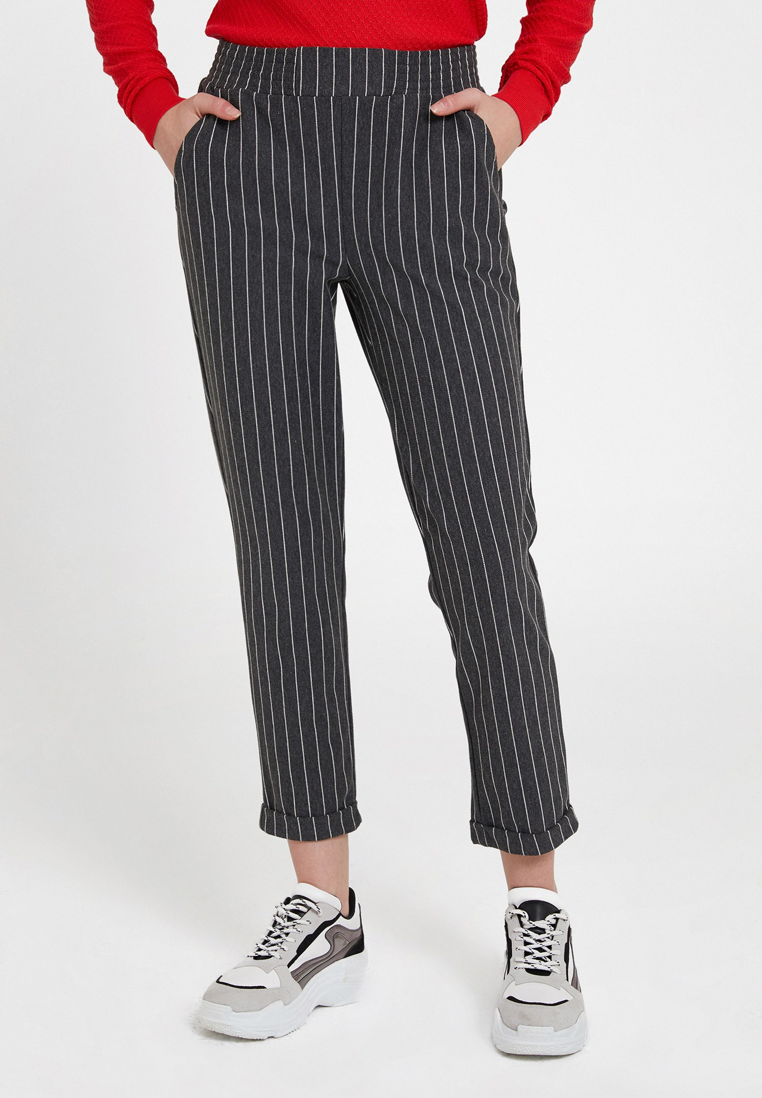 Women Mixed Striped Jogger with Pocket