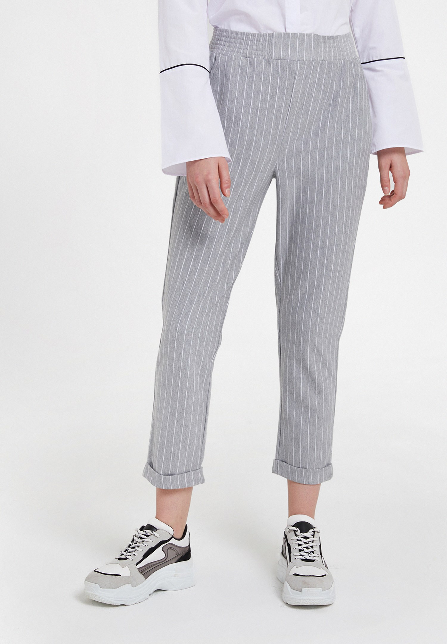 Women Mixed Striped Jogger with Pocket Detail