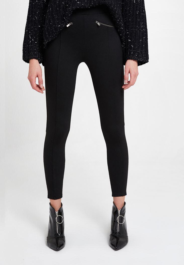 Black Leggings with Zip Pocket