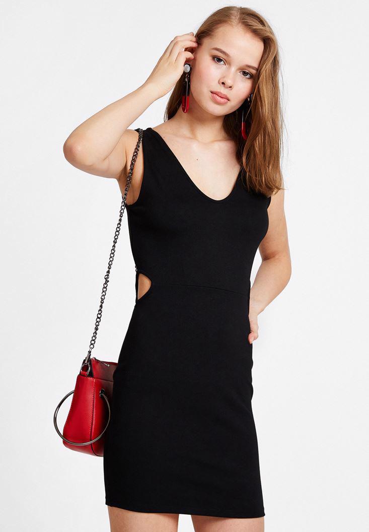 Bayan Siyah Yırtmaçlı Mini Elbise