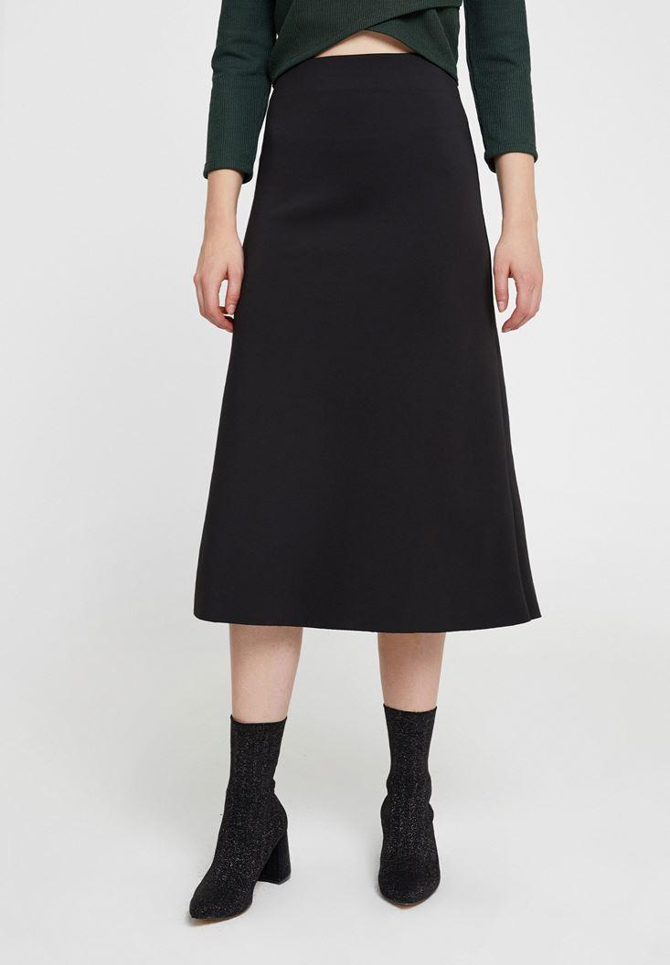 Black High Rise Midi Skirt