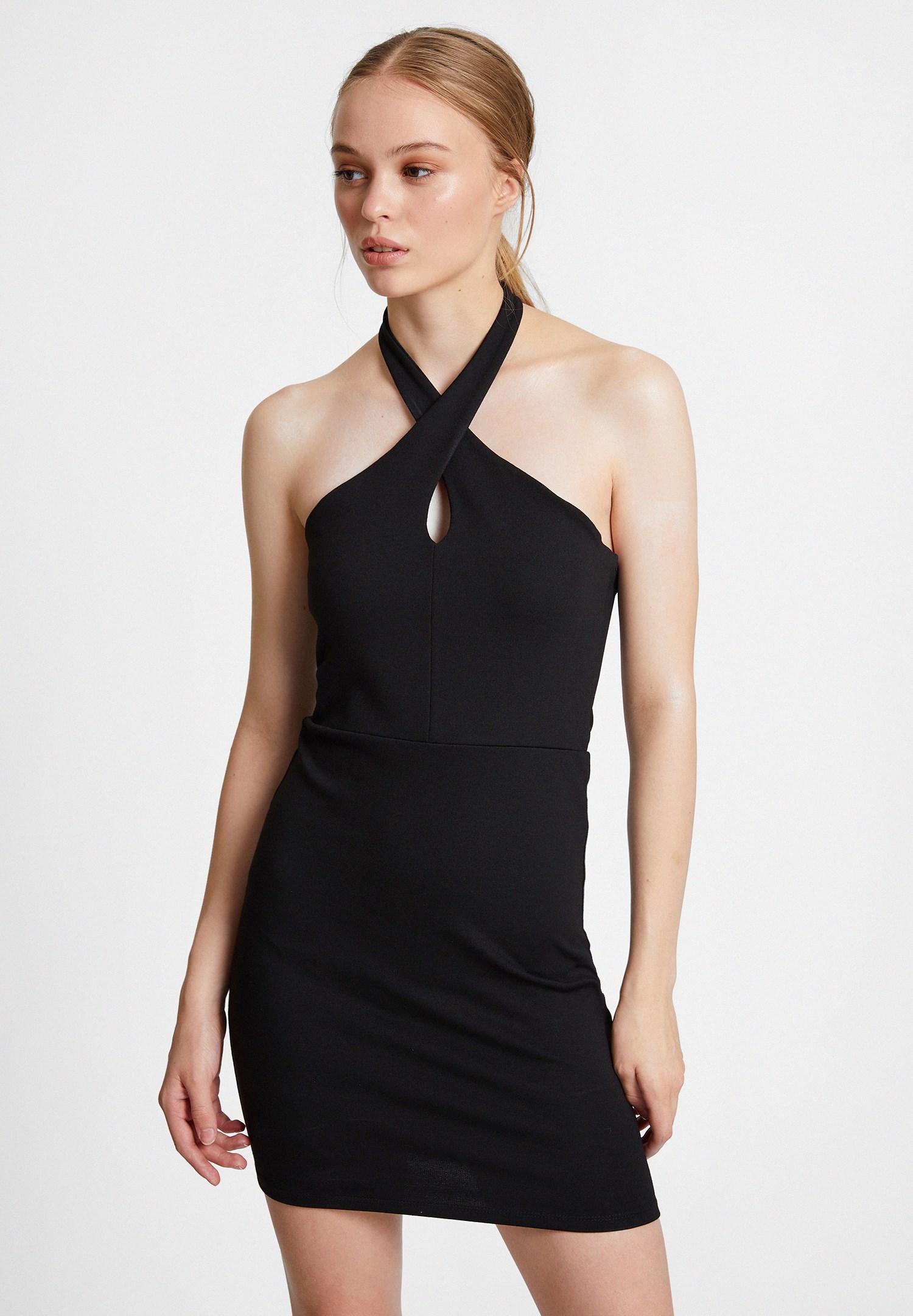 Bayan Siyah Çapraz Yaka Detaylı Elbise
