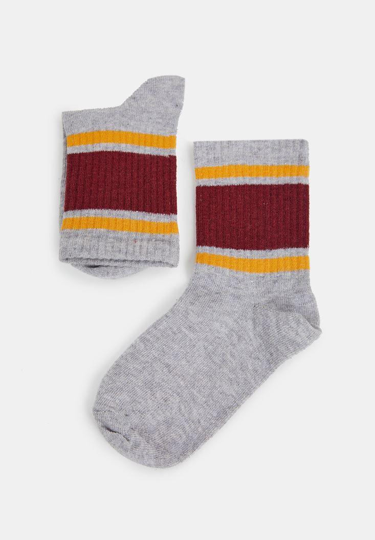 Gri Şerit Detaylı Çorap