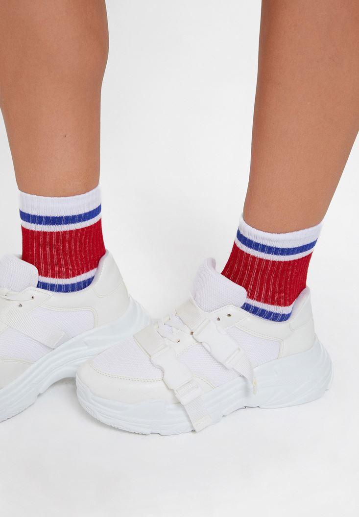 Beyaz Şerit Detaylı Çorap
