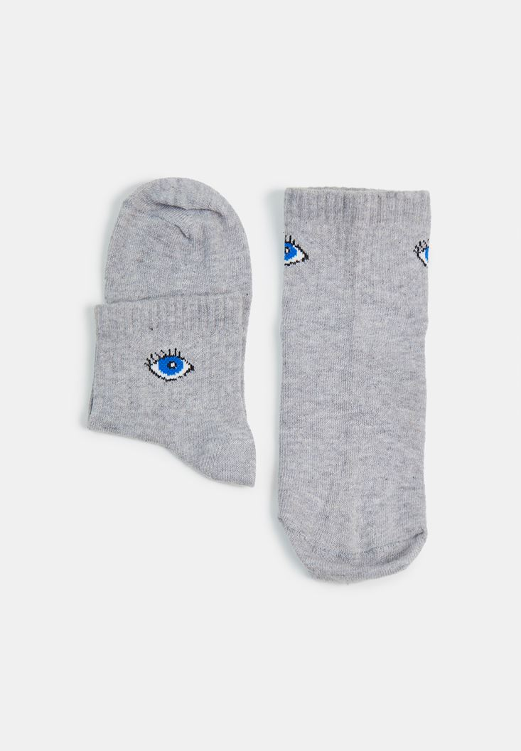 Grey Eye Patterned Socks with Detail