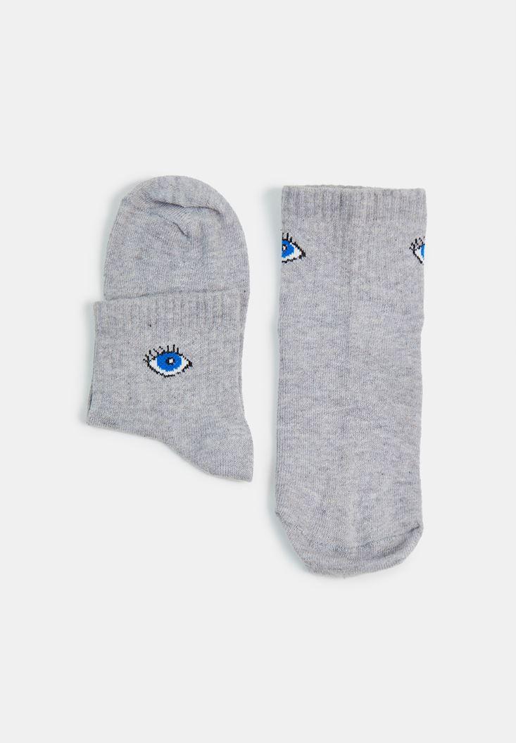 Gri Göz Desen Detaylı Çorap