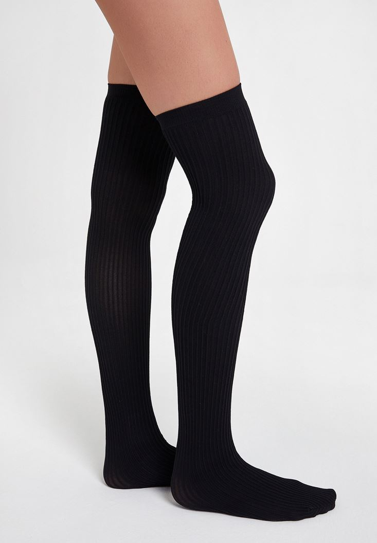 Siyah Dokulu Uzun Çorap