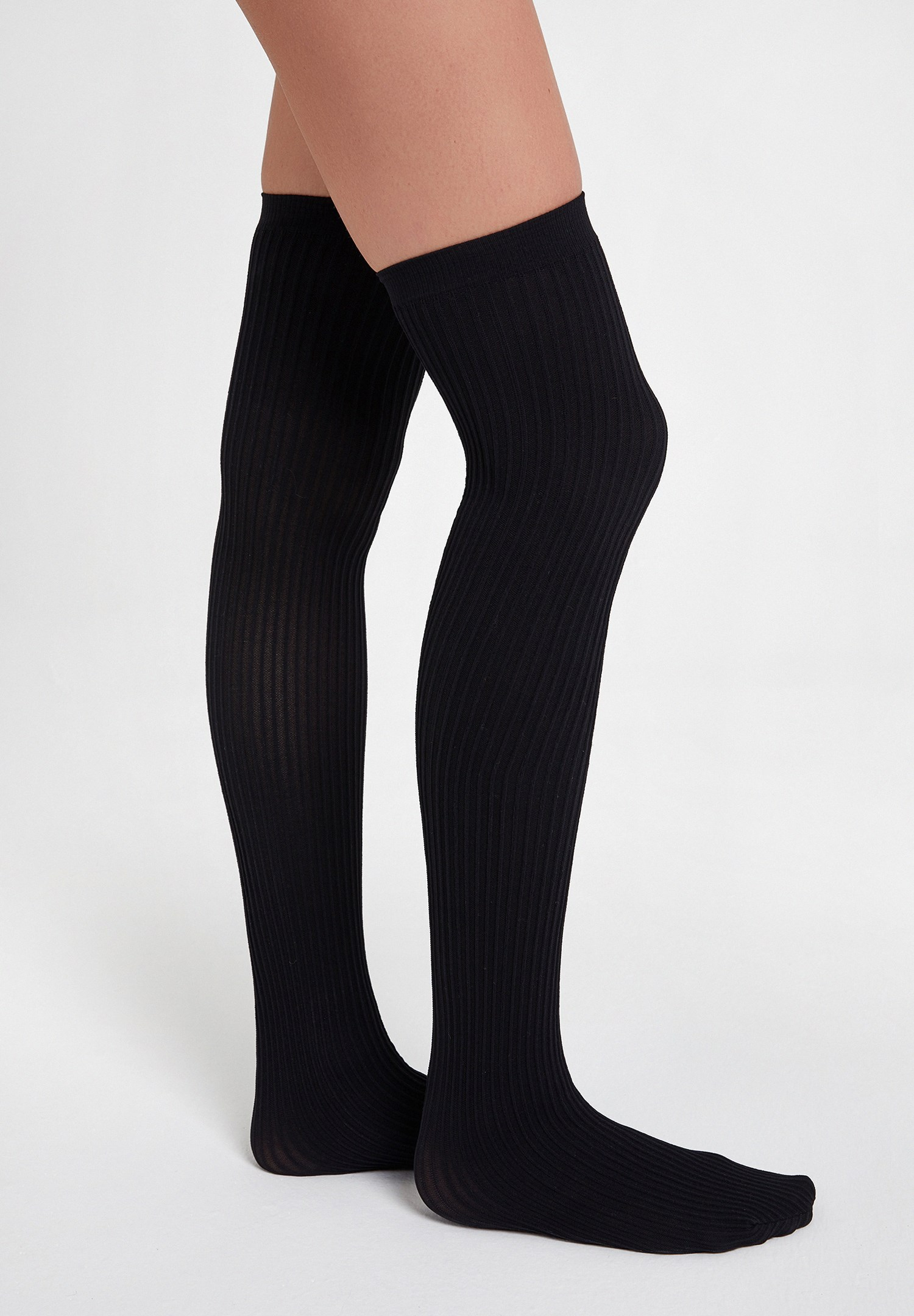 Bayan Siyah Dokulu Uzun Çorap