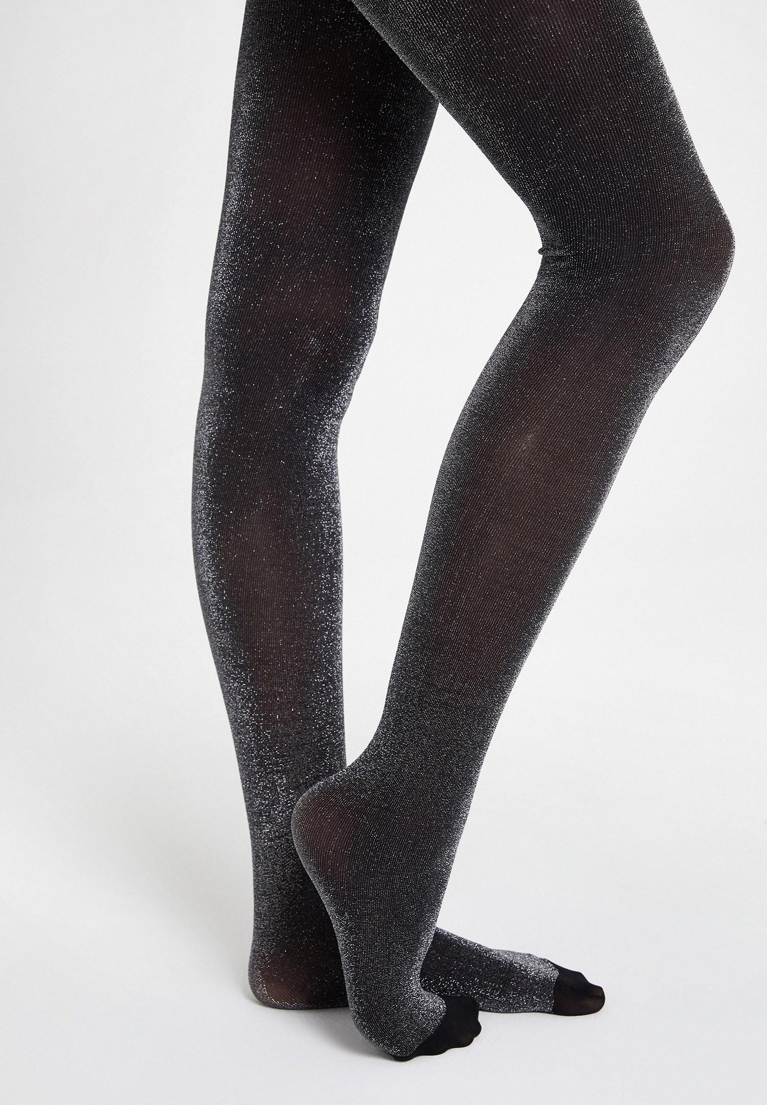 Bayan Siyah Sim Detaylı Külotlu Çorap