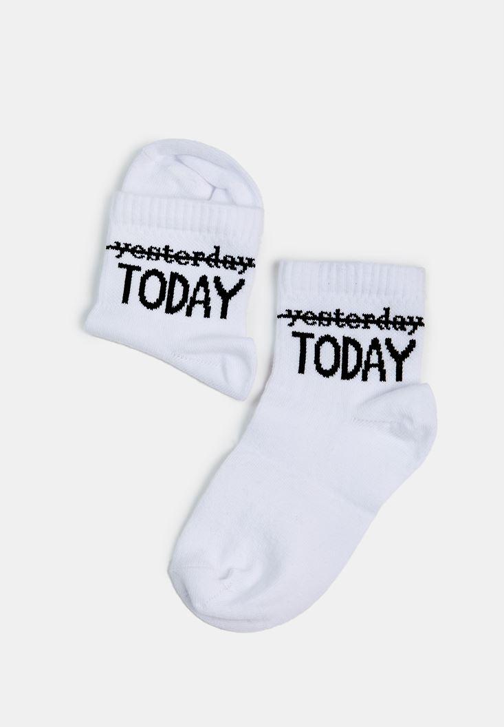 Beyaz Today Yazılı Çorap