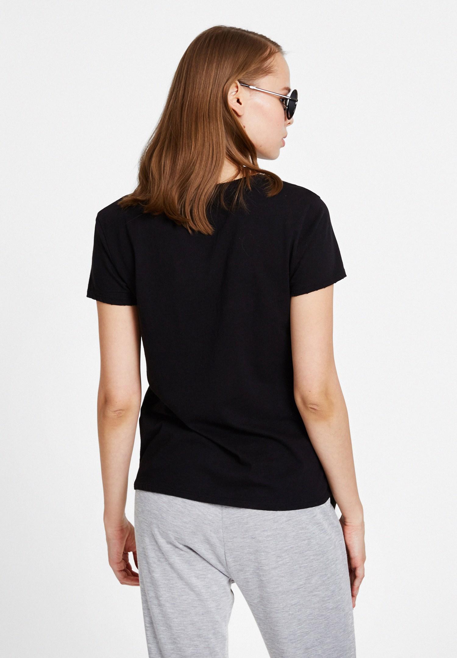 Bayan Siyah Kaktüs İslemeli Tişört