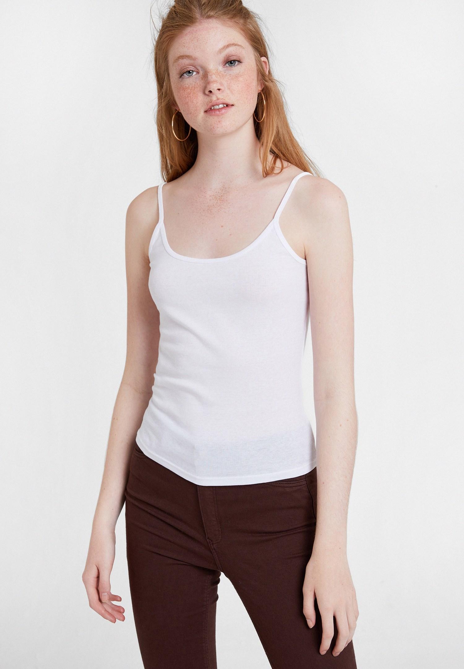 Women White Strappy Top