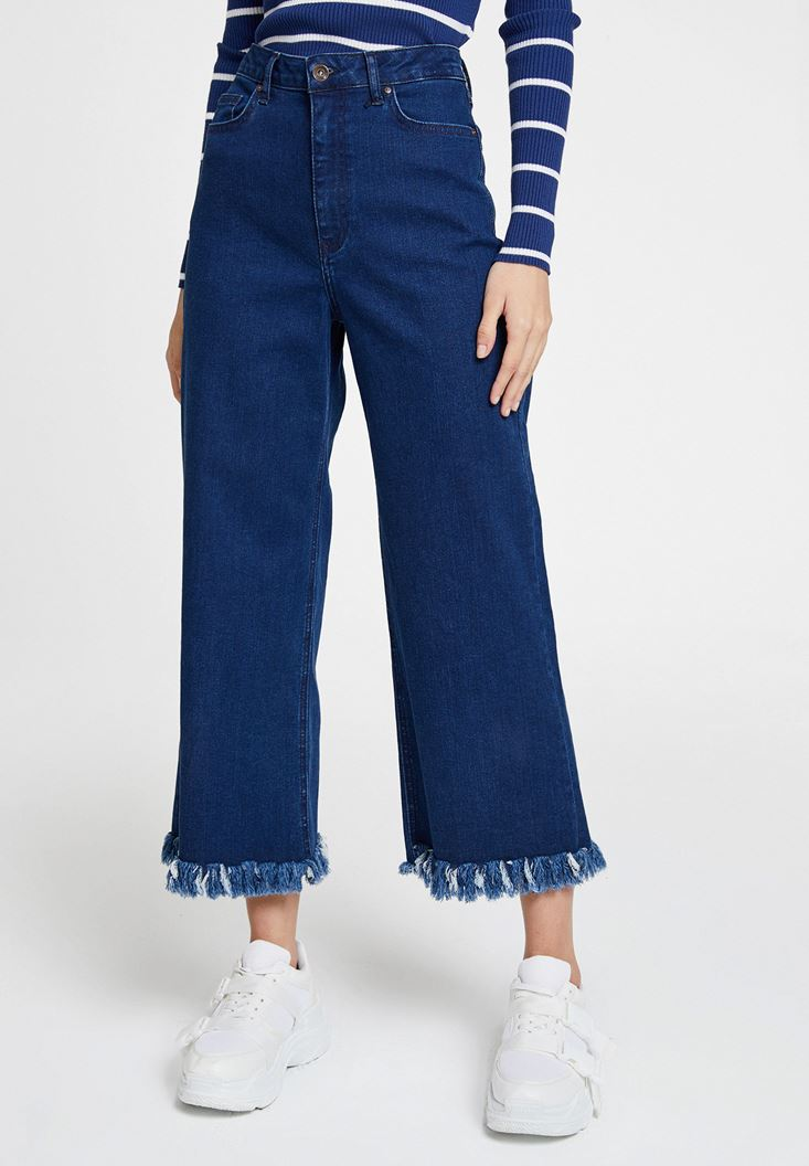 Blue High Rise Jean with Detail