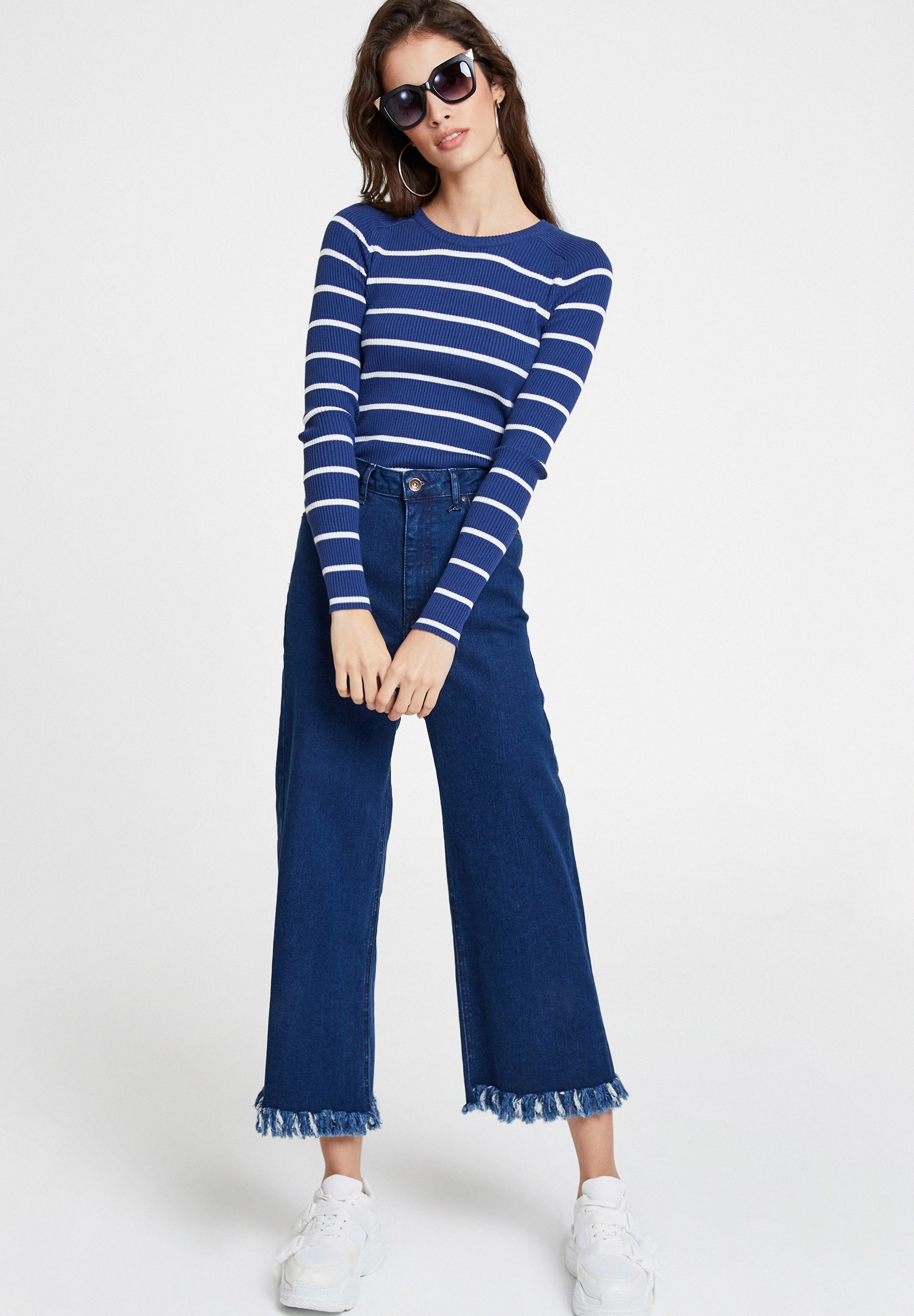 Bayan Mavi Yüksek Bel Paça Detaylı Bol Pantolon