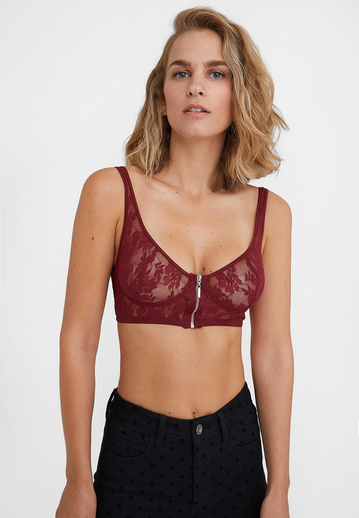 Bordeaux Bustier with Zipper