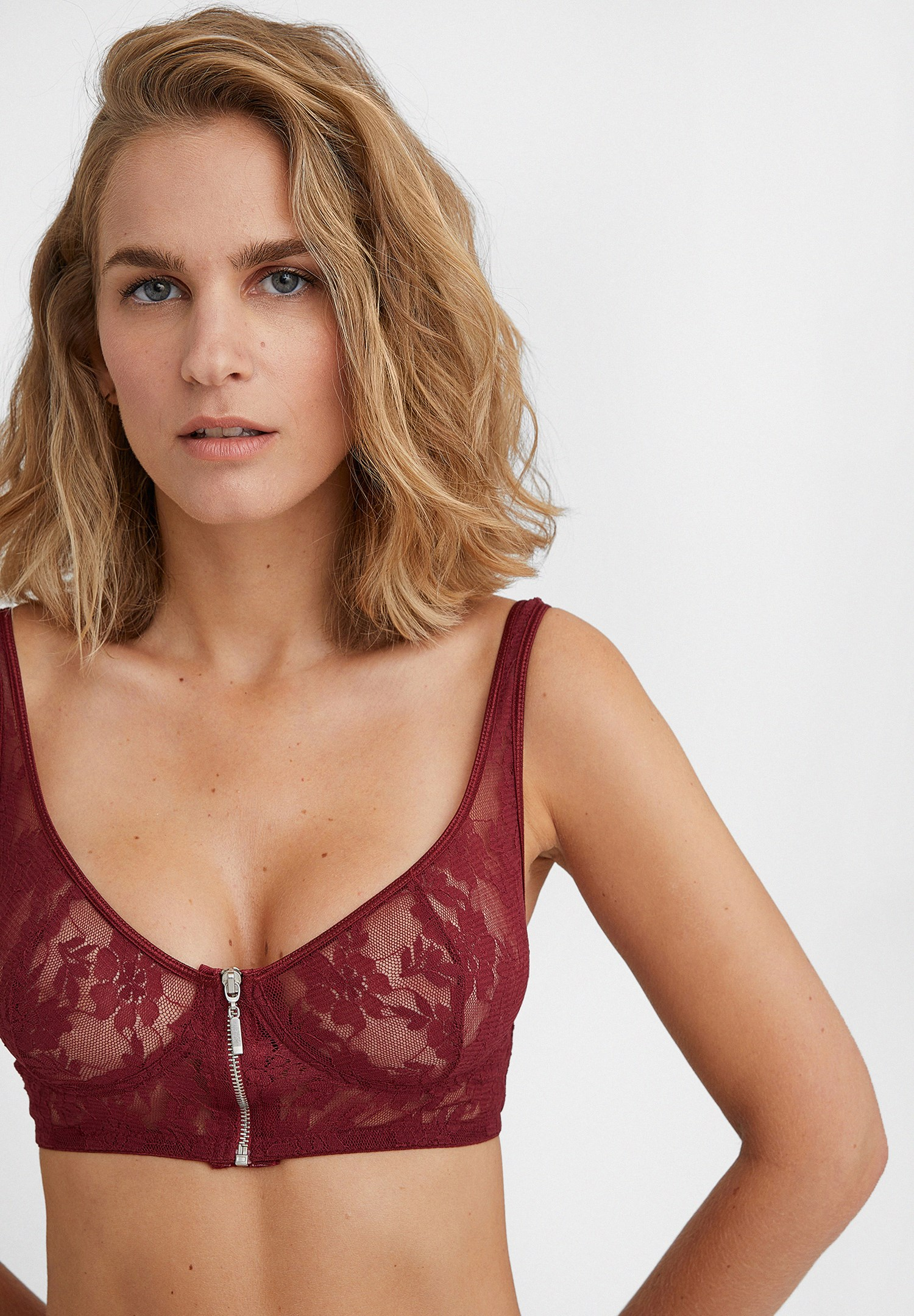 Women Bordeaux Bustier with Zipper