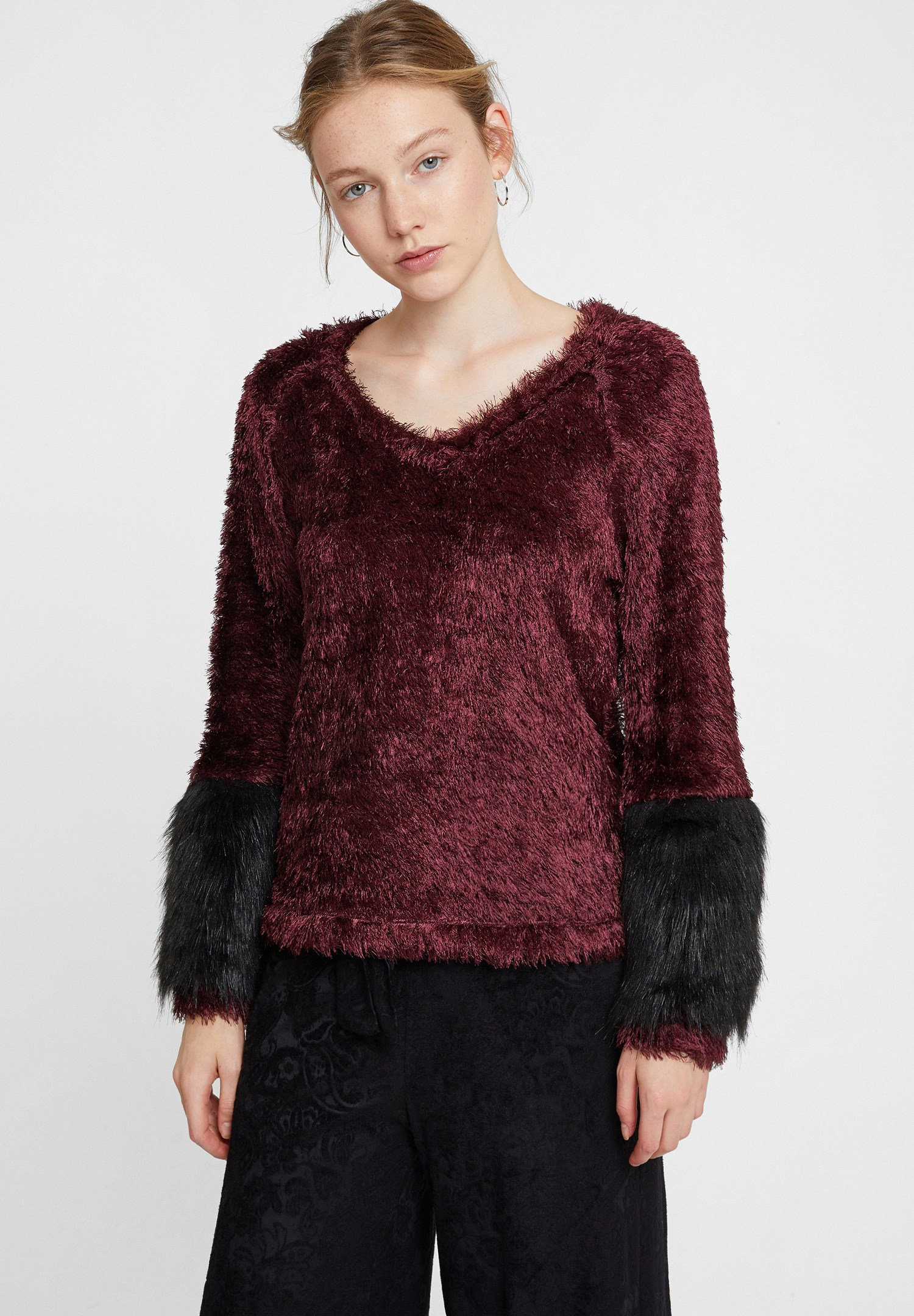 Women Purple V Neck Long Sleeve Knitwear