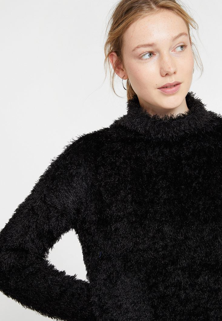 Black Roll Neck Knitwear with Detail