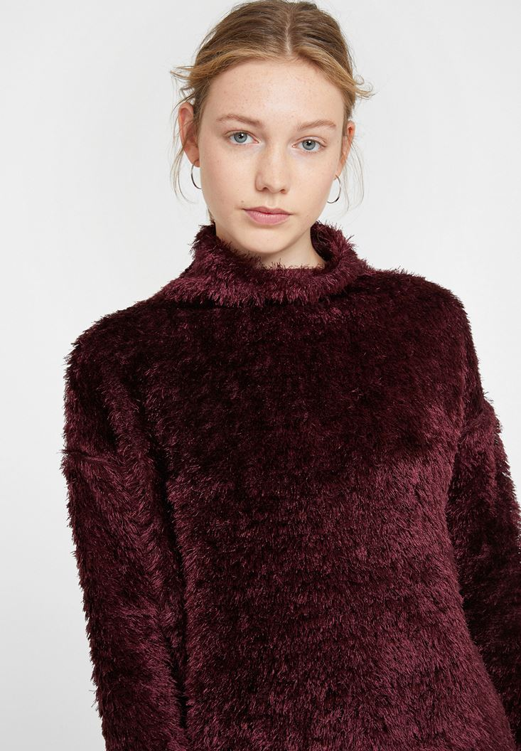 Bordeaux Roll Neck Knitwear with Detail