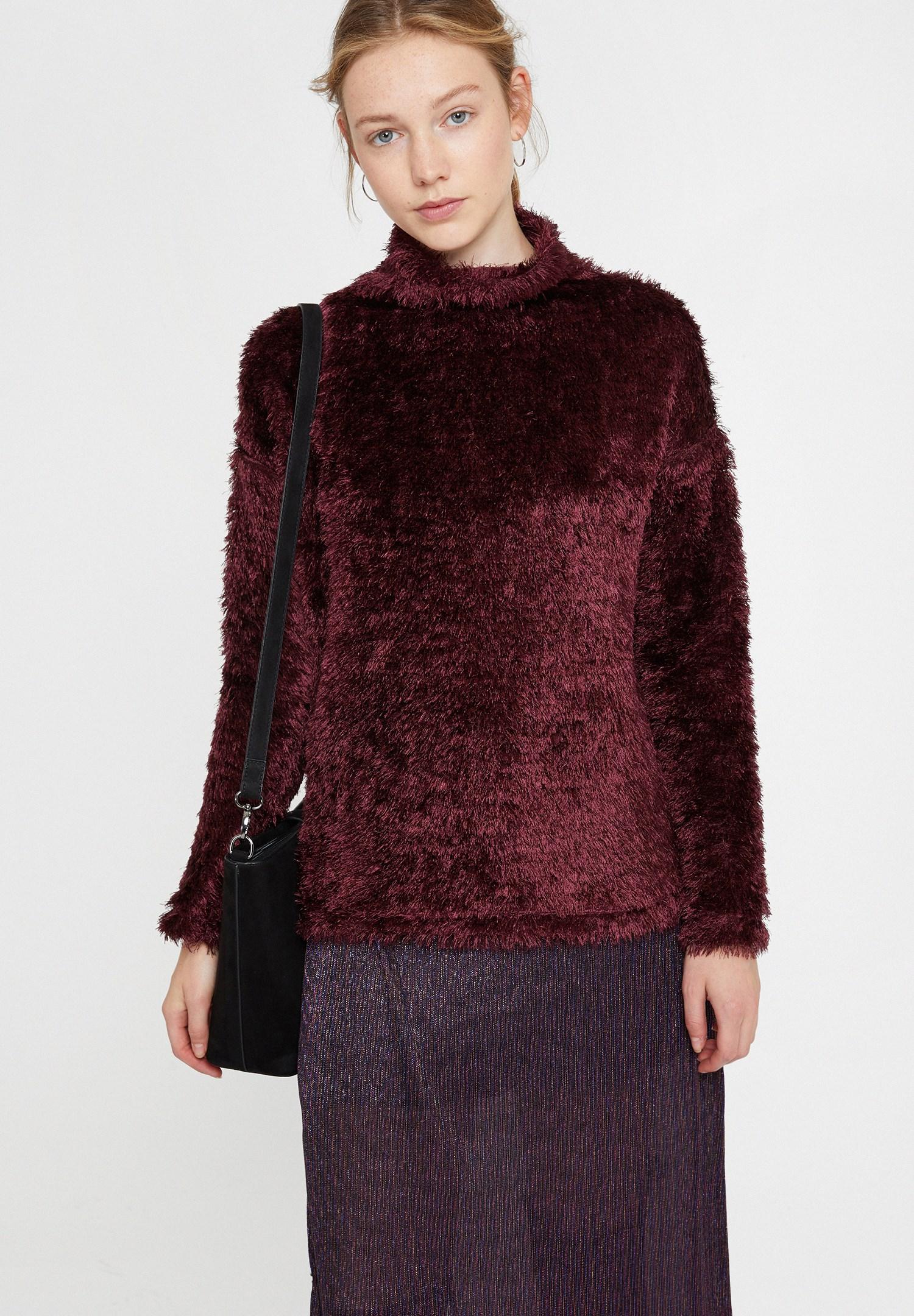 Women Purple Roll Neck Knitwear with Detail