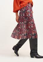 Women Mixed Pleated Midi Skirt