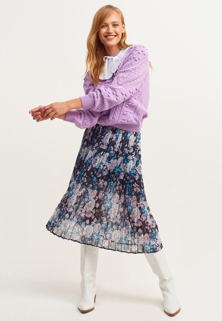Mixed Pleated Midi Skirt