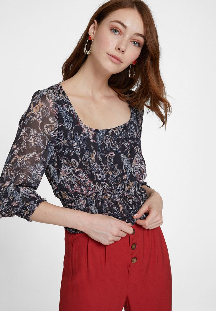 Karışık Desenli Beli Lastik Detaylı Bluz