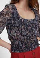 Bayan Çok Renkli Karışık Desenli Beli Lastik Detaylı Bluz