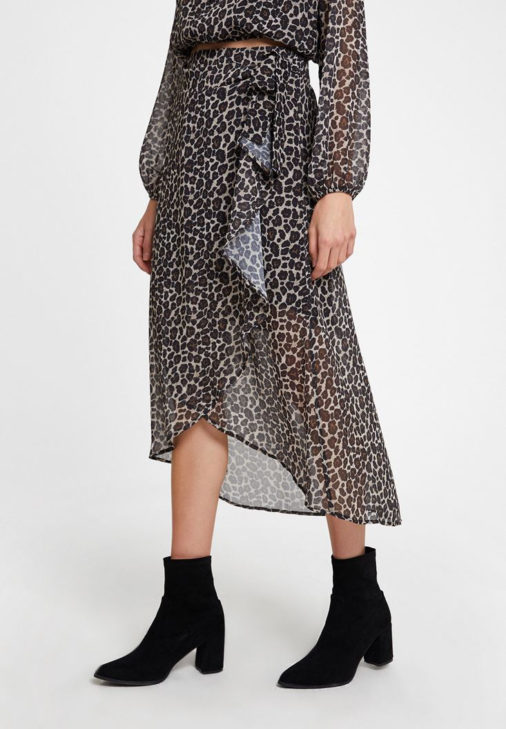 Mixed Leopard Pattern Skirt with Details