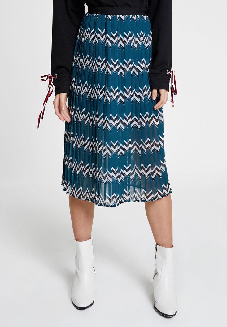 Mixed Pleated Skirt with Mix Pattern