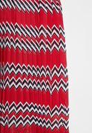 Bayan Çok Renkli Karışık Desenli Pili Detaylı Etek