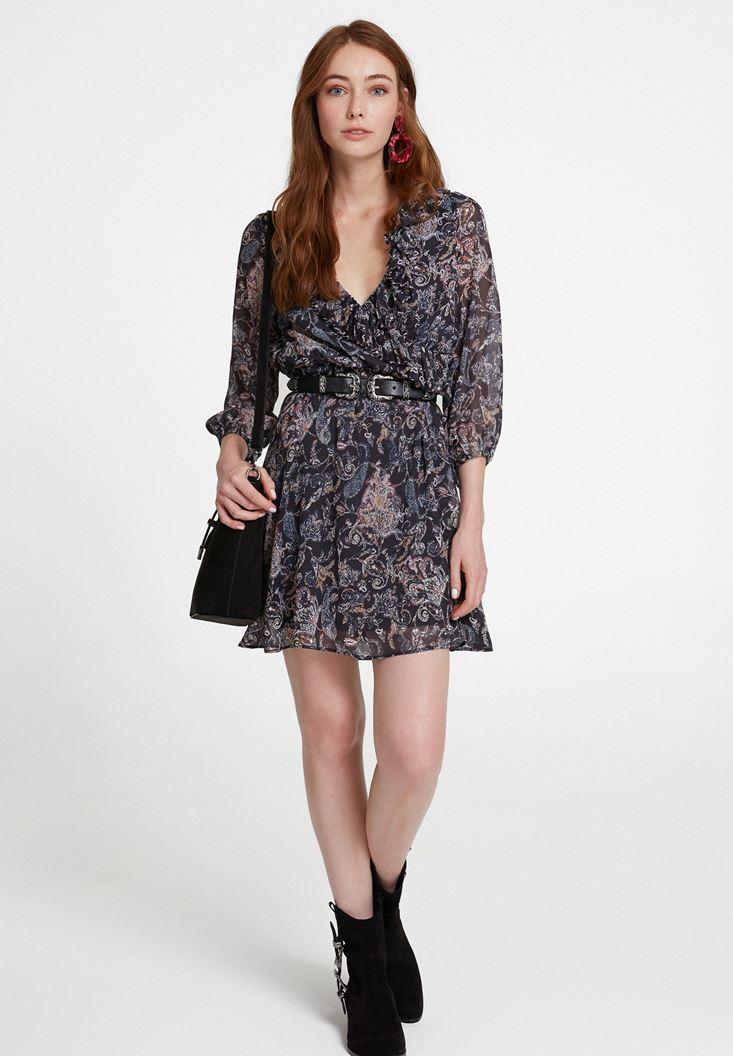 Çok Renkli Karışık Desenli Fırfır Detaylı Elbise