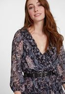 Bayan Çok Renkli Karışık Desenli Fırfır Detaylı Elbise