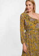 Bayan Çok Renkli Tek Omuzlu Uzun Elbise