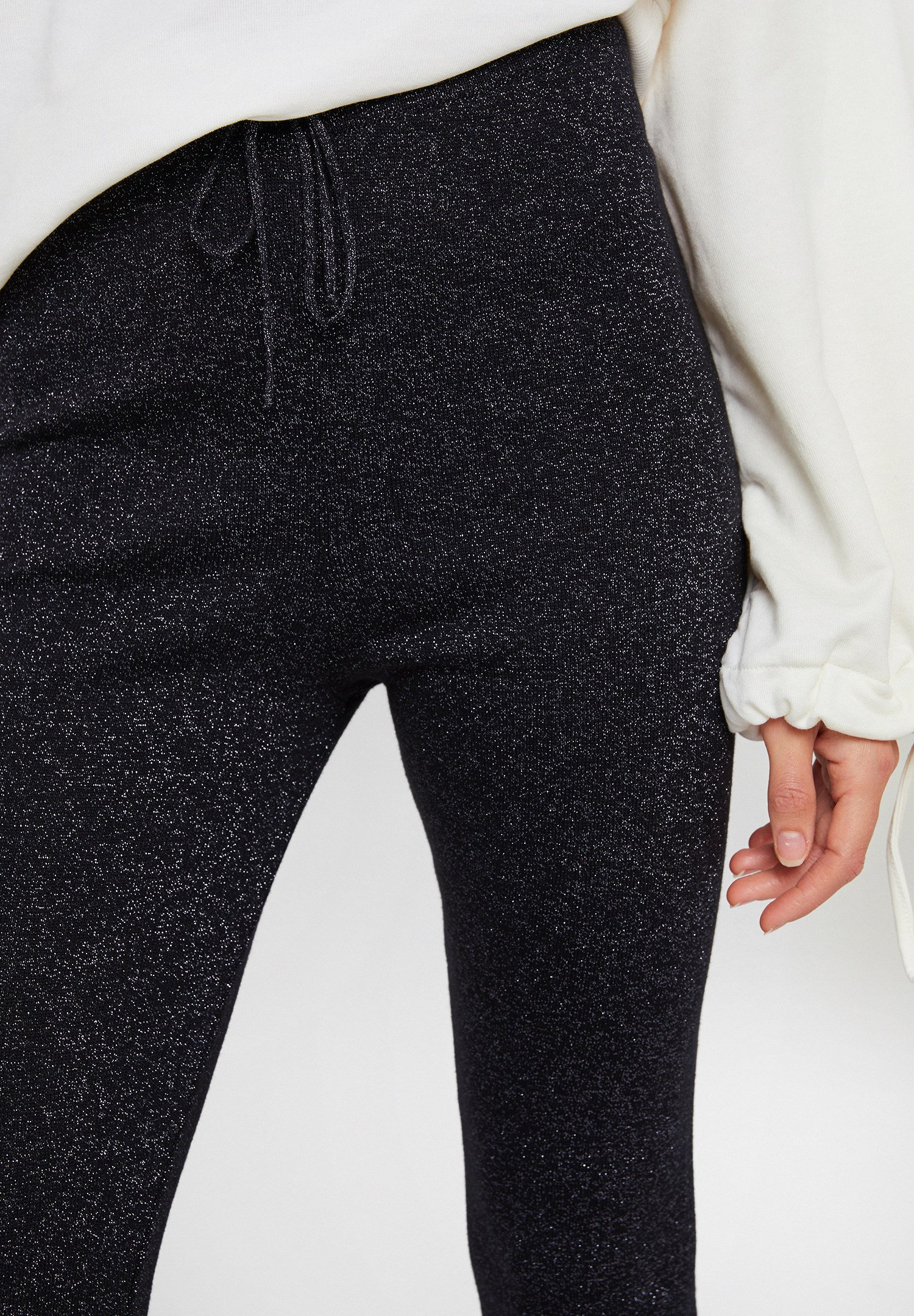 Women Black Pants with Shiny Detail