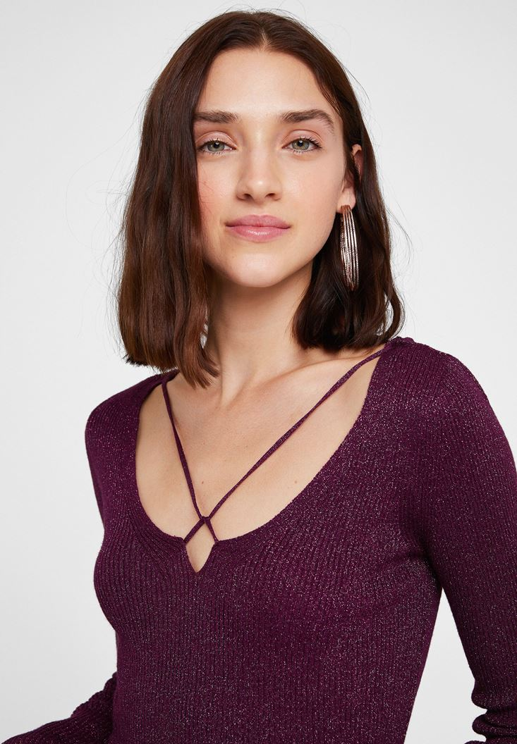 Purple Pullover with Shiny Detail