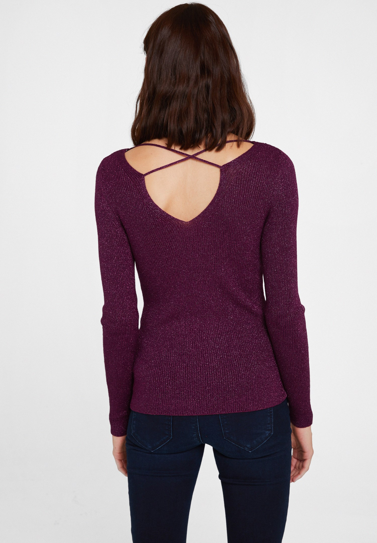 Women Purple Pullover with Shiny Detail