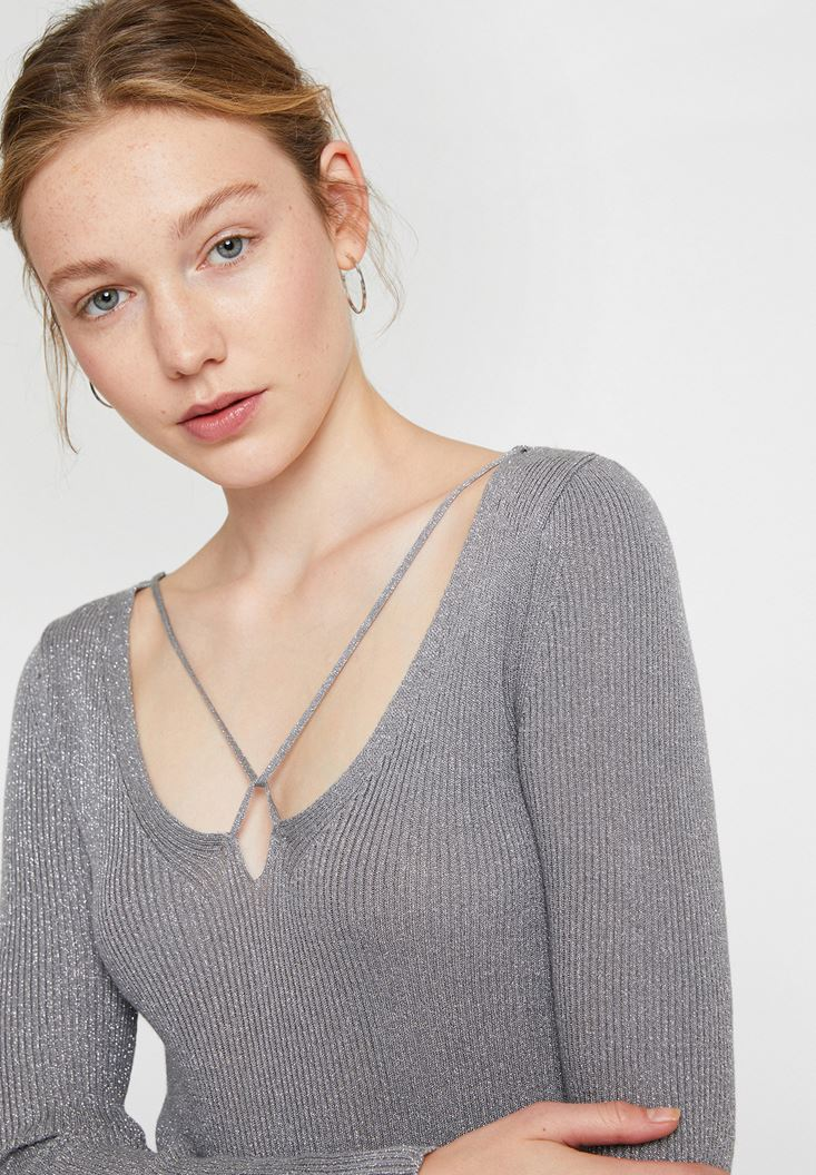 Grey Pullover with Shiny Detail