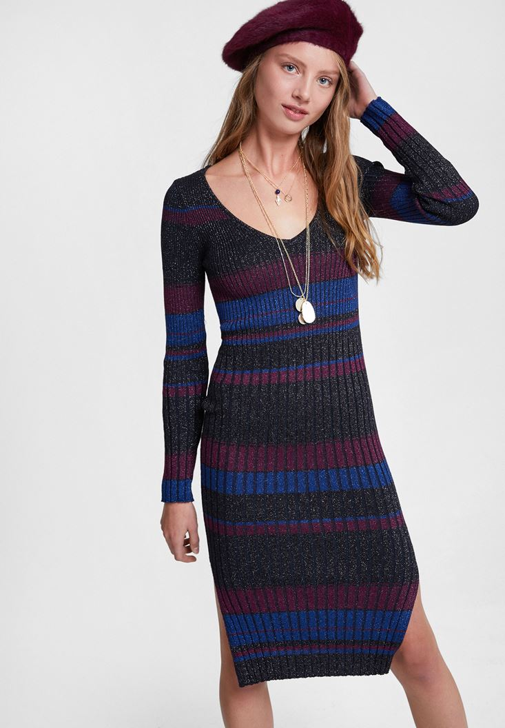 Mixed Striped Dress with Shiny