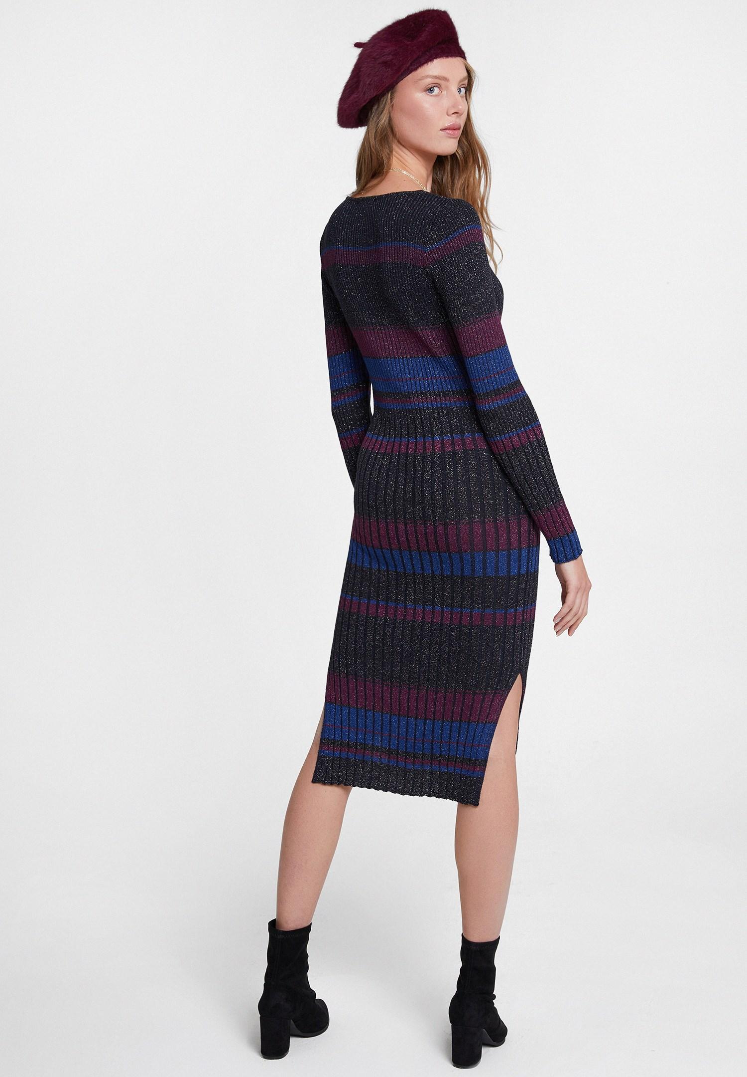 Bayan Çok Renkli Sim Detaylı Çizgili Elbise