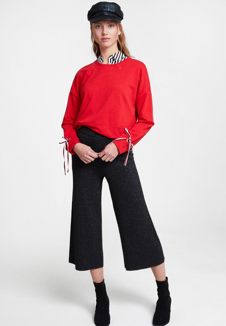 Black Trousers with Shiny Detail