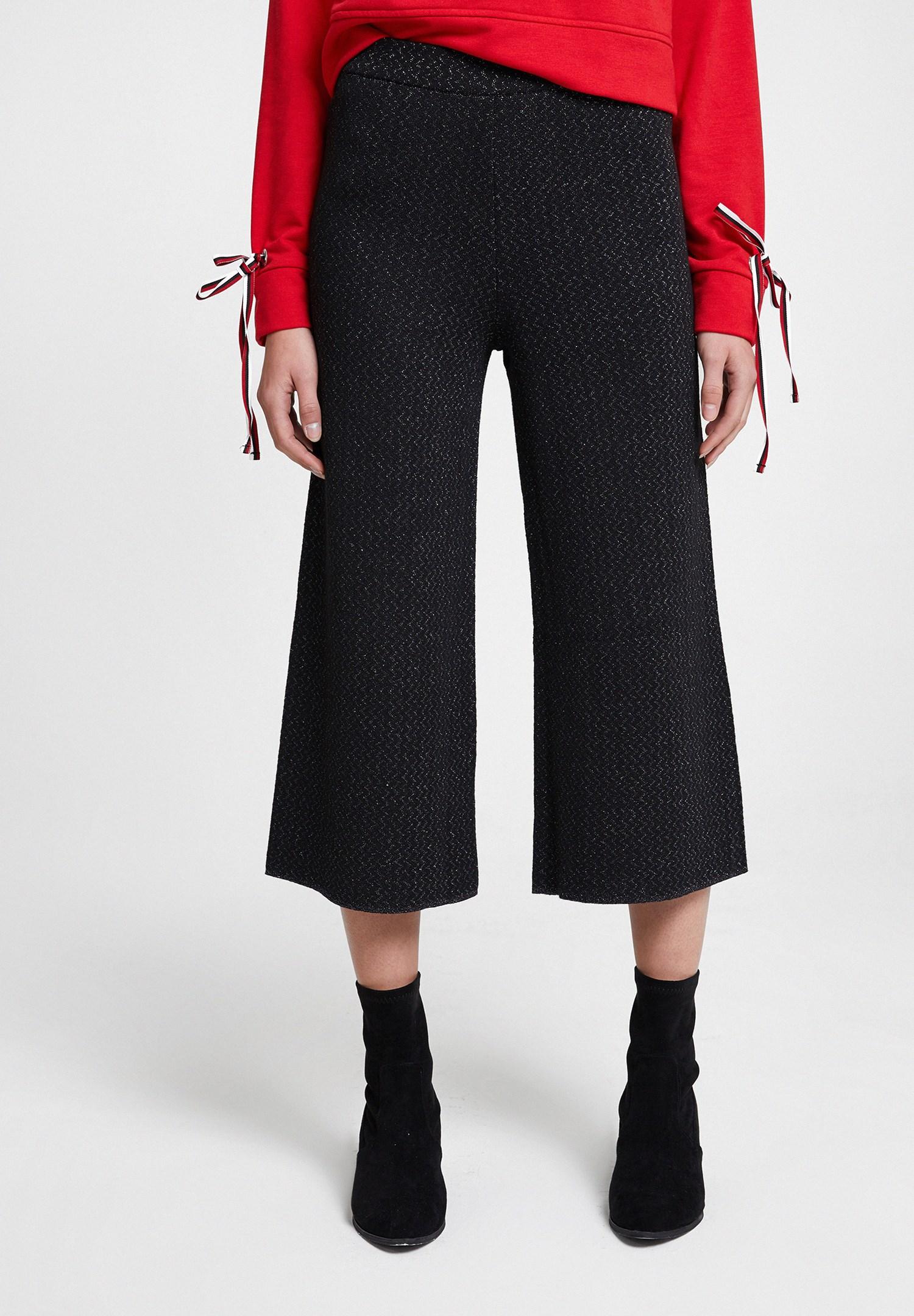 Bayan Siyah Parlak Detaylı Bol Pantolon