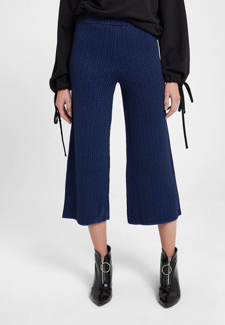 Lacivert Parlak Detaylı Bol Pantolon