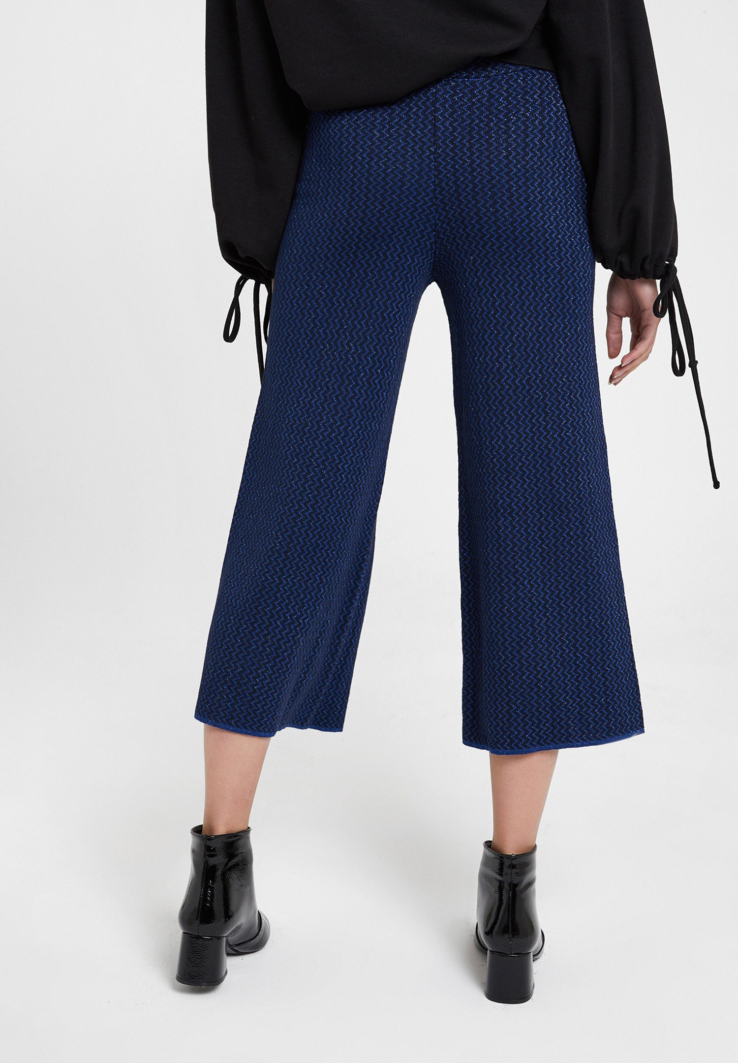Women Navy Trousers with Shiny Detail