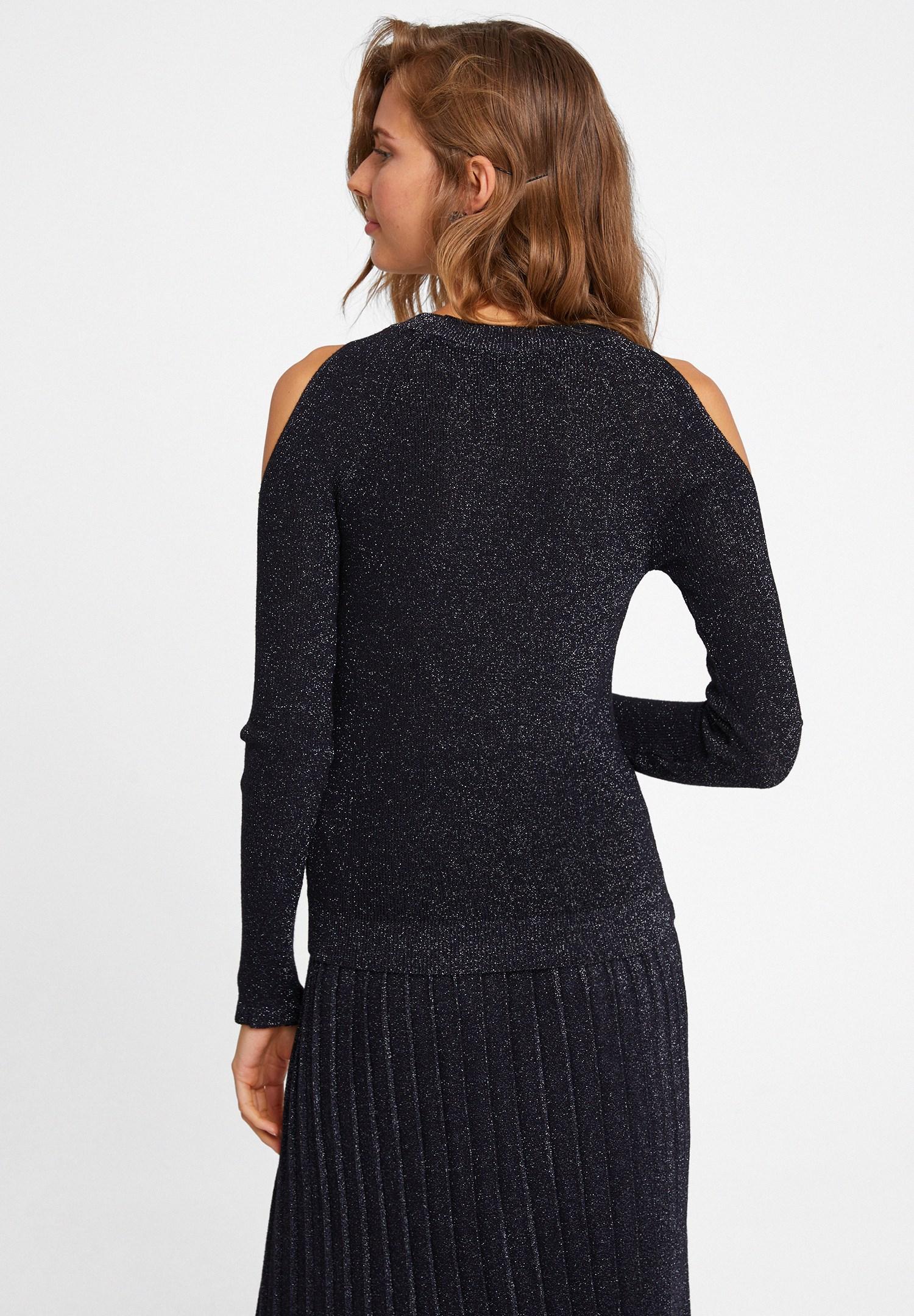 Women Black Knitwear with Cut Out Detail