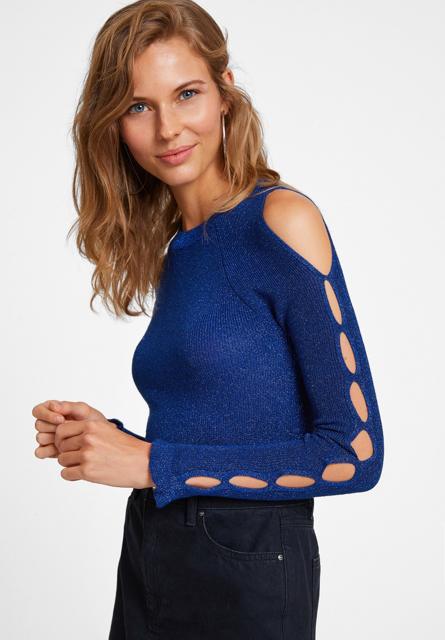 Women Navy Knitwear with Cut Out Detail