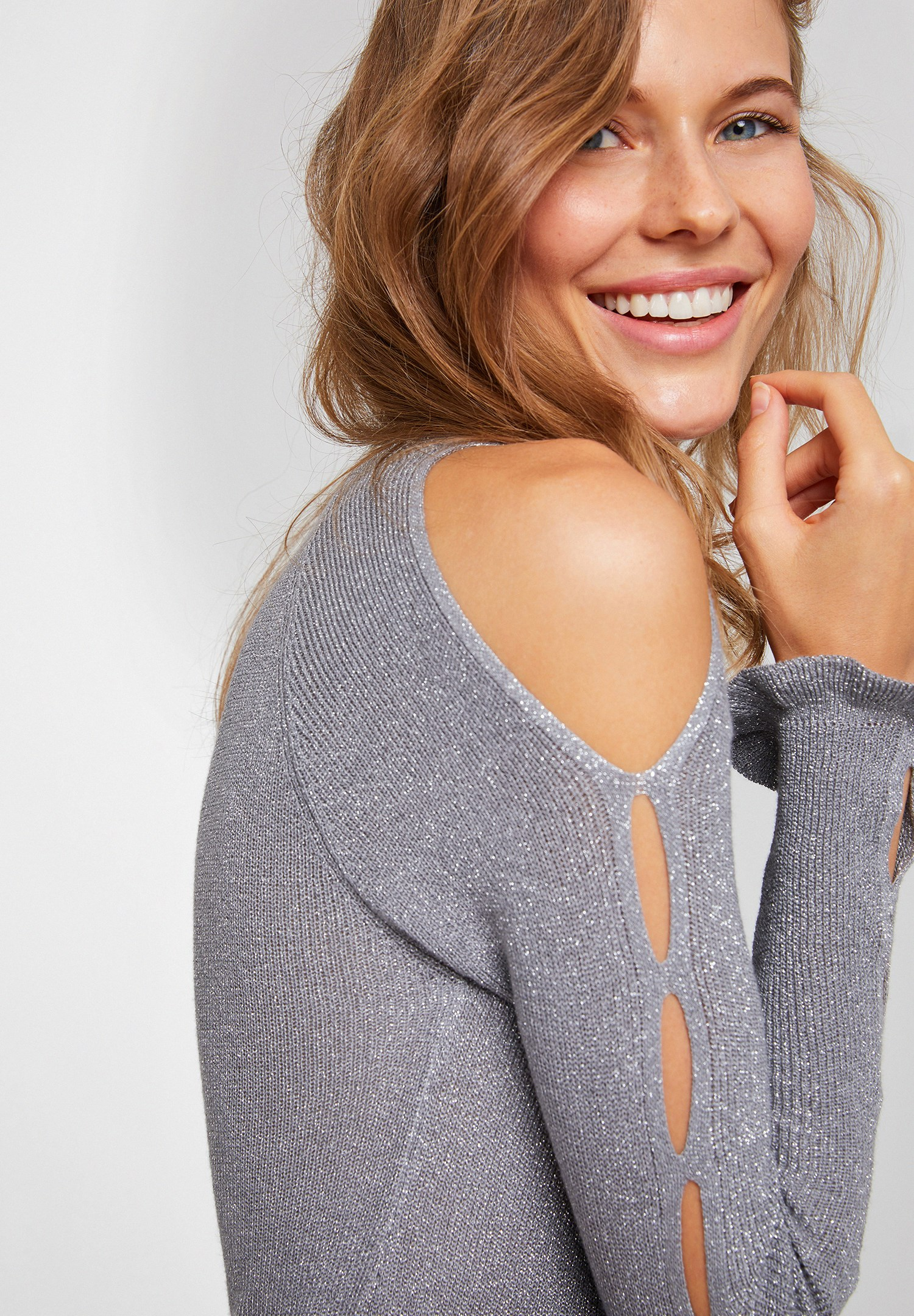 Women Grey Knitwear with Cut Out Detail