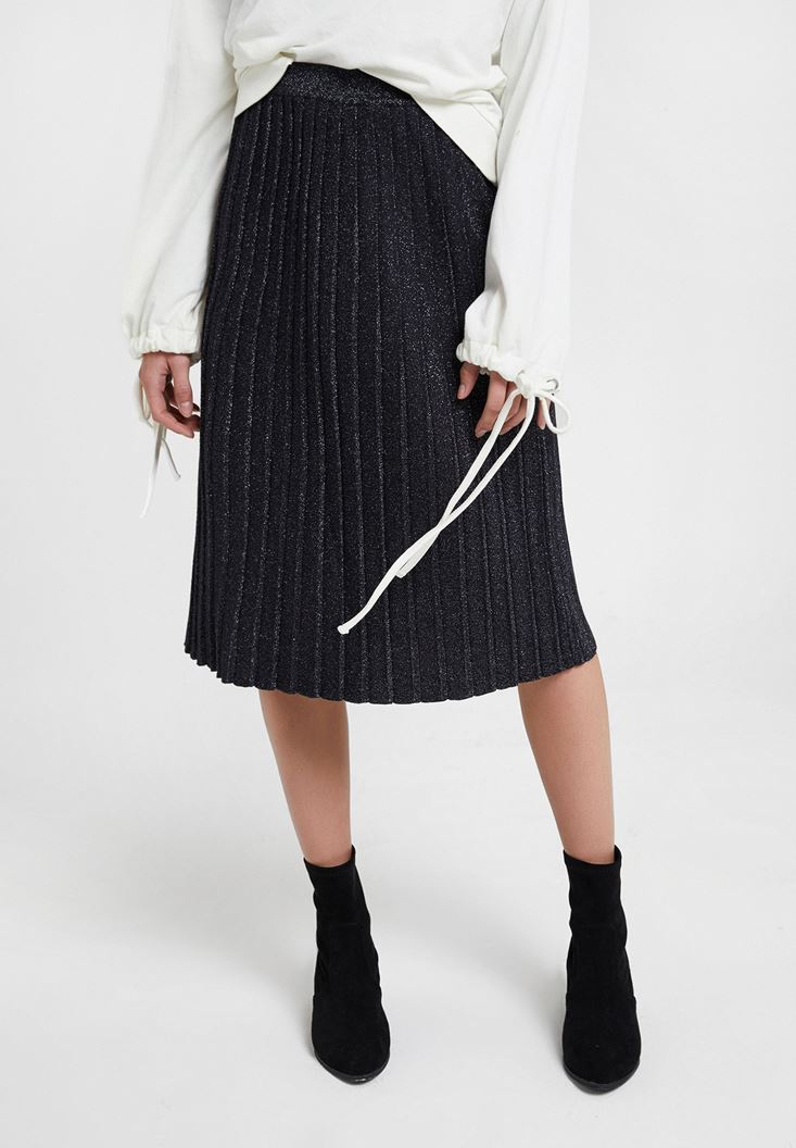 Black Shiny Pleated Skirt