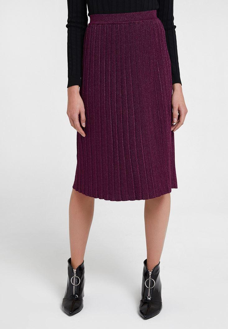 Purple Shiny Pleated Skirt