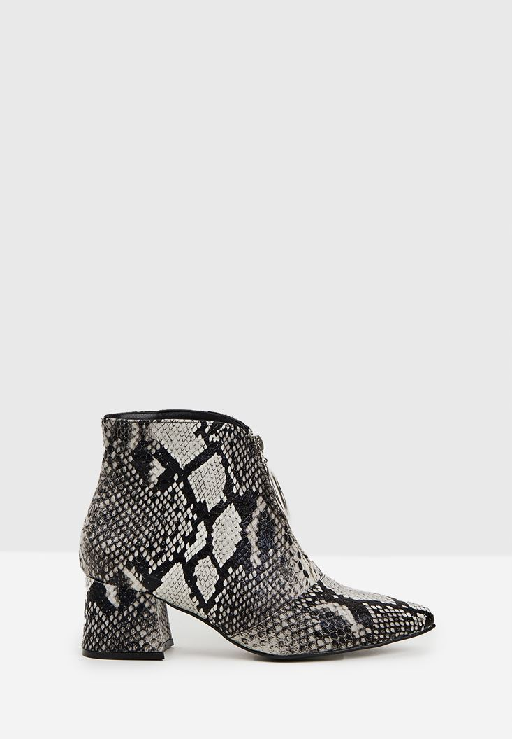 Mixed Snakeskin High Heel Boot